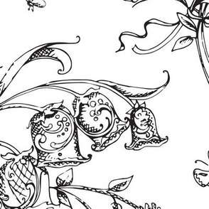 Whimsical Floral Bells and Bugs B&W