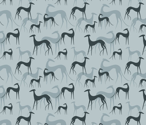 sighthounds blue fabric by lobitos on Spoonflower - custom fabric