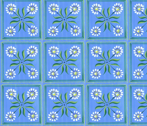 Big daisy-blue fabric by mybohohome on Spoonflower - custom fabric