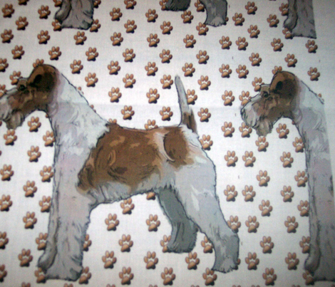 Wire Fox Terrier andPaw Prints fabric