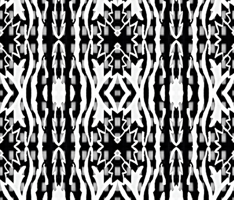 Stencil on Black and White Grid fabric by anniedeb on Spoonflower - custom fabric