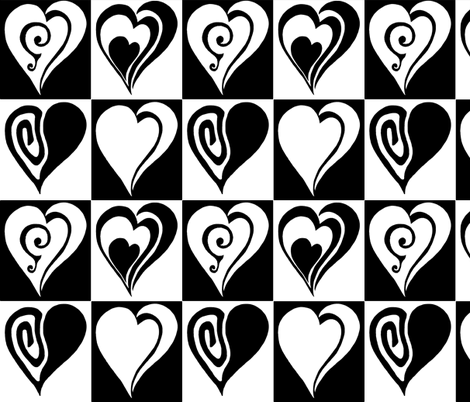 Black and white hearts fabric by martaharvey on Spoonflower - custom fabric