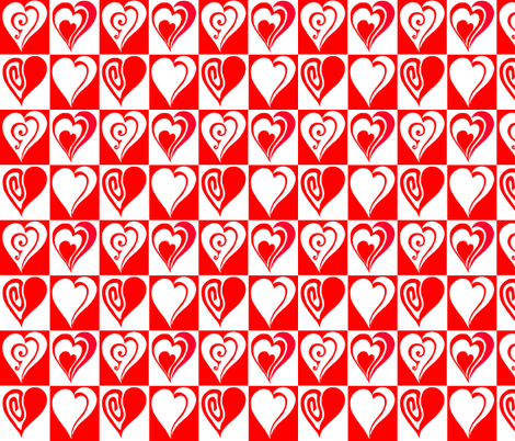 Hearts in red and white fabric by martaharvey on Spoonflower - custom fabric