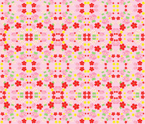 Japanese Garden Pink fabric by curious_nook on Spoonflower - custom fabric