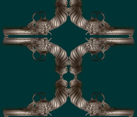 steampunk-gun-teal fabric by boneyfied on Spoonflower - custom fabric