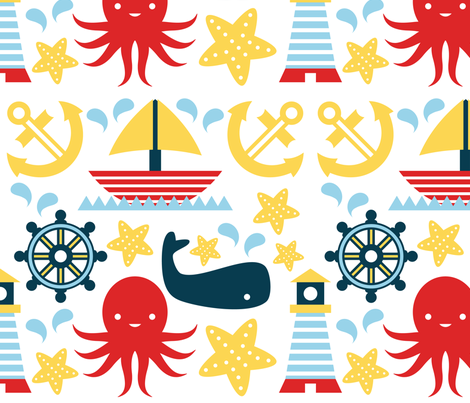 Sailing Pattern White Background fabric by mintparcel on Spoonflower - custom fabric