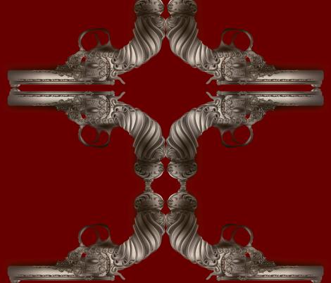 steampunk-gun-maroon fabric by boneyfied on Spoonflower - custom fabric