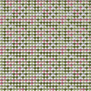 Watermelon Green and Pink Valentines Day Hearts Art