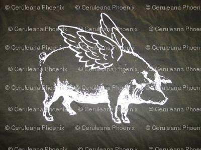 Flying Pig, White on Black