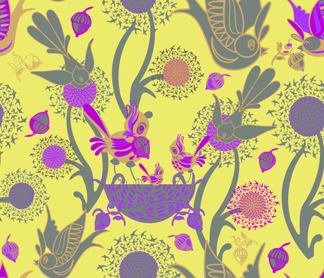 Birds and Nests (Bonnard) fabric by chickoteria on Spoonflower - custom fabric