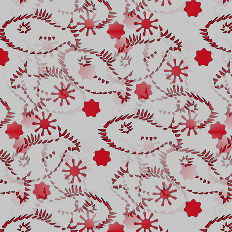 Blub Blub Fish - Red and Beige fabric by telden on Spoonflower - custom fabric