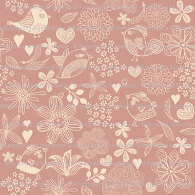 flowers, hearts, and birds in pink