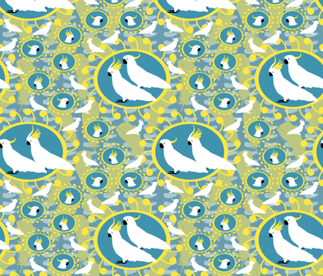 Sulfer Crested Cockatoos fabric by rubydoor on Spoonflower - custom fabric