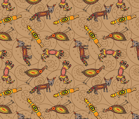 dreamtime_animals4-01 fabric by mira_r on Spoonflower - custom fabric
