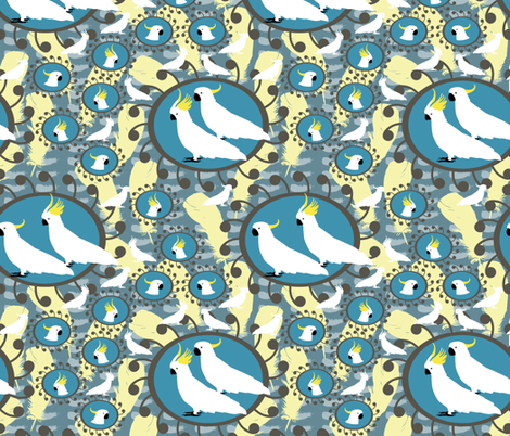 Sulfer Crested Cockatoos in Blues fabric by rubydoor on Spoonflower - custom fabric