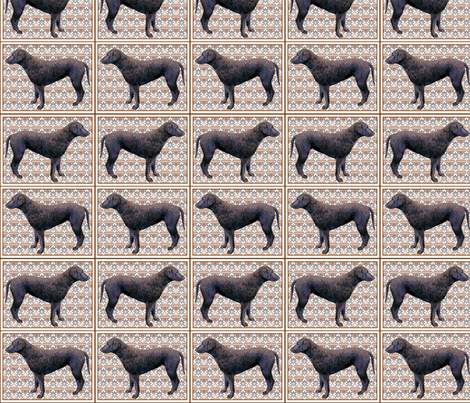 Curlycoated Retriever on brocade fabric fabric by dogdaze_ on Spoonflower - custom fabric
