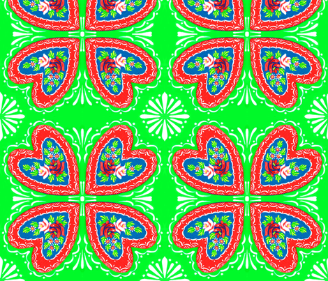 canal_heart_bright_green fabric by mybohohome on Spoonflower - custom fabric