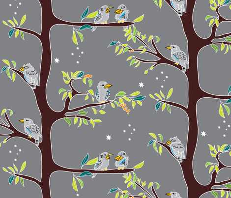 Kookaburras at dusk fabric by ebygomm on Spoonflower - custom fabric