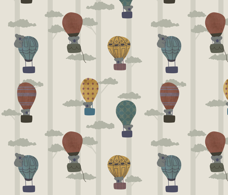 Koalas in hot air balloons fabric by ittybittycraftster on Spoonflower - custom fabric
