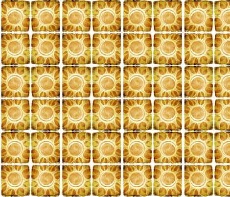 Multi - Layout of Golden Yellow Sun Flower Illustration - Batik Style fabric by runnycustard on Spoonflower - custom fabric