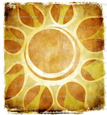 Golden Yellow Sun Flower Illustration - Batik Style