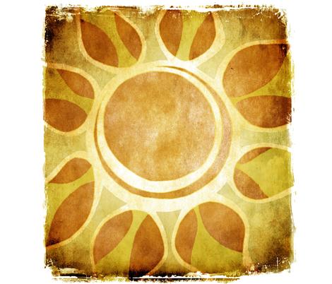 Golden Yellow Sun Flower Illustration - Batik Style fabric by runnycustard on Spoonflower - custom fabric
