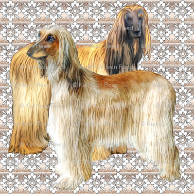 Afghan Hounds Fabric