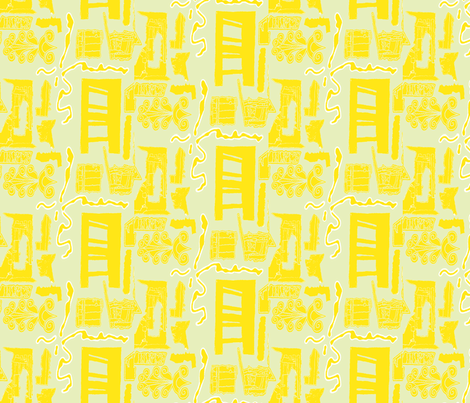 Greek Doors Lemon Sage fabric by marie_s on Spoonflower - custom fabric