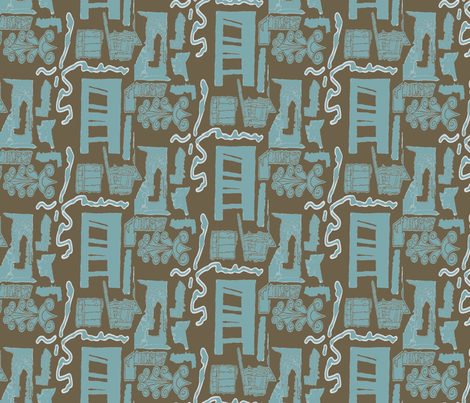 Greek Doors Mud Eggshell fabric by marie_s on Spoonflower - custom fabric