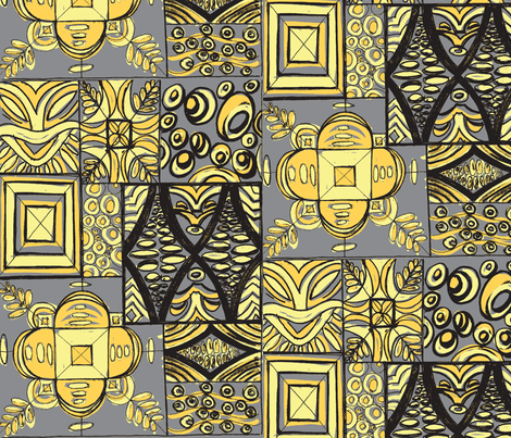 Old School ,Mana Mohala, ripe banana fabric by sophista-tiki_by_dawn_frasier on Spoonflower - custom fabric