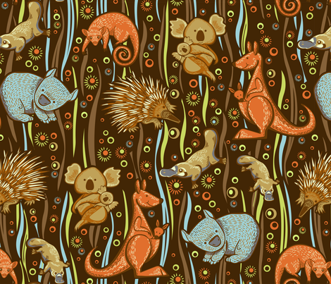 Aussie animal friends fabric by cjldesigns on Spoonflower - custom fabric