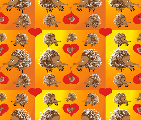 Red Hot Echidna Love for Valentine's Day fabric by amy_g on Spoonflower - custom fabric