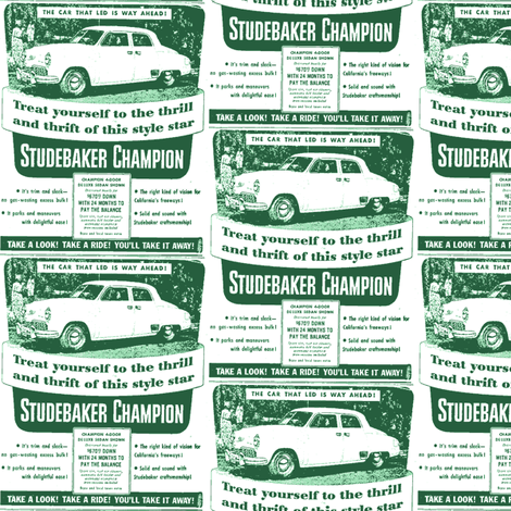 new 1949 Studebaker Champion Ad 4 door sedan fabric by edsel2084 on Spoonflower - custom fabric