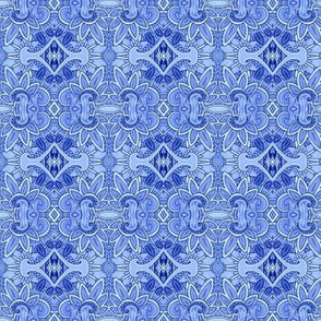 Retro 1940's Blue Floral Abstract