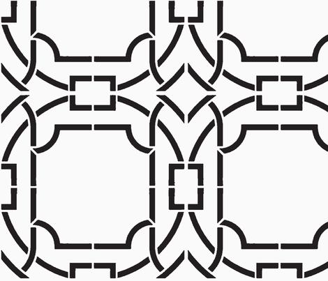 Bamboo Trellis-Black-Large fabric by mrsmberry on Spoonflower - custom fabric