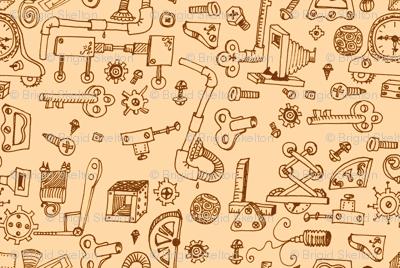 Steampunk Parts: Hand-drawn Sepia Small Ditsy