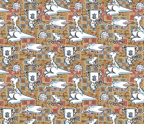 Aussie CRITTERS fabric by gitchyville_stitches on Spoonflower - custom fabric