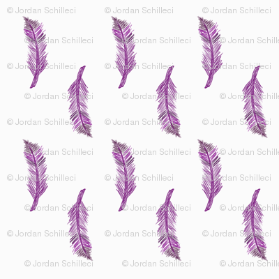 hand drawn purple feathers on grey almost white