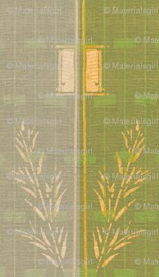Deco Wheat Stripe - green/graypalepink/buttermilk