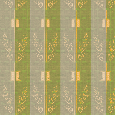 Deco Wheat Stripe - green/graypalepink/buttermilk fabric by materialsgirl on Spoonflower - custom fabric