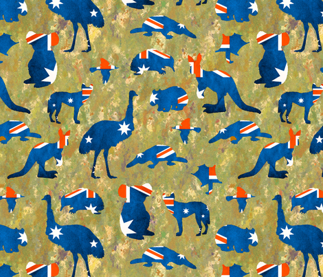 Australian animals of course fabric by lucybaribeau on Spoonflower - custom fabric