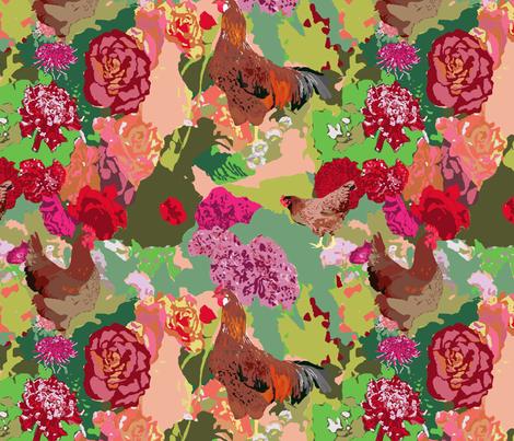 Garden Path with Rhode Island Red Vintage fabric by bloomingwyldeiris on Spoonflower - custom fabric