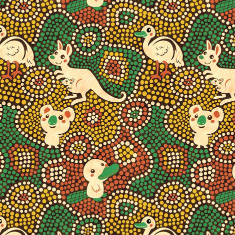 Australia Animals | green fabric by irrimiri on Spoonflower - custom fabric