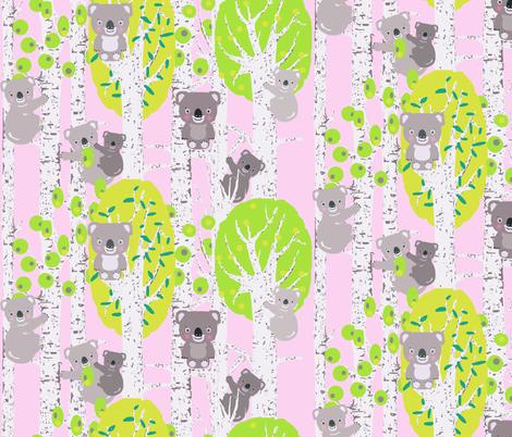 koala_trees_pink fabric by katarina on Spoonflower - custom fabric