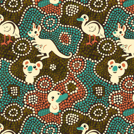 Australia Animals | brown fabric by irrimiri on Spoonflower - custom fabric
