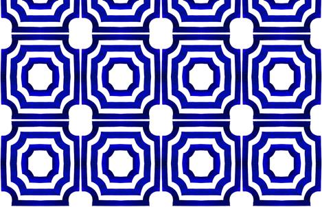 cestlaviv_Lattice Shadows NEWer Cobalt fabric by cest_la_viv on Spoonflower - custom fabric