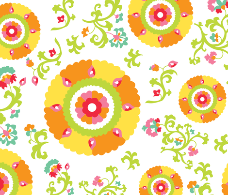 Oh Suzani Citrus Large- Scale Print fabric by heather_b_design on Spoonflower - custom fabric