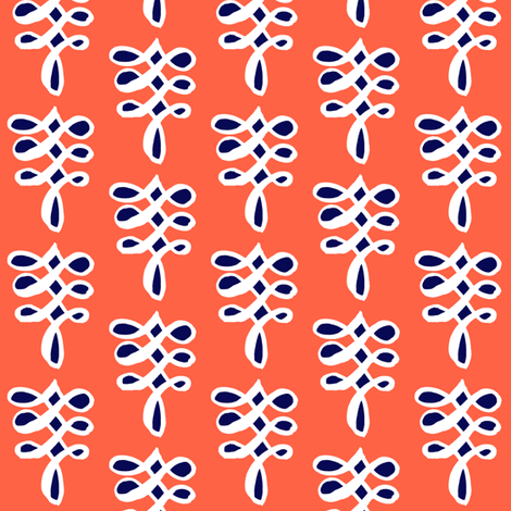 cestlaviv_infinityknot coral+navy fabric by cest_la_viv on Spoonflower - custom fabric