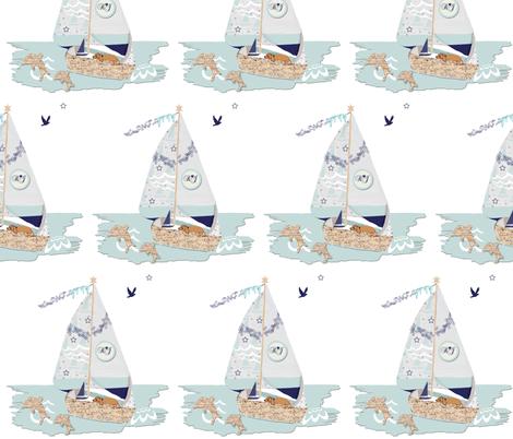 RJ's Puppy Sailboat half-brick repeat fabric by karenharveycox on Spoonflower - custom fabric