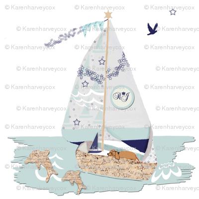 RJ's Puppy Sailboat half-drop repeat
